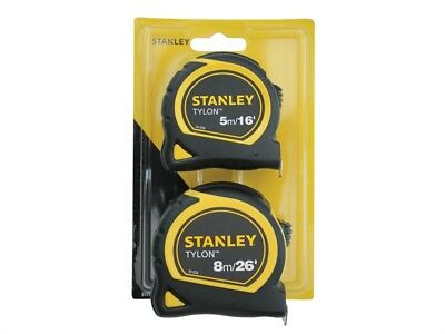 Stanley Tools STA998985 Tylon™ Pocket Tapes 5m/16ft + 8m/26ft (Twin Pack)