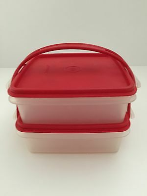 Vintage Tupperware Sandwich Squares With Handle In Red - NEW- Holiday Duet Set