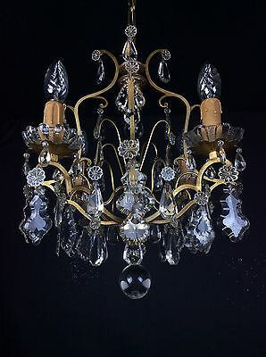 Truly Stunning 4 Arm Antique French Bronze Crystal Cage Chandelier Ceiling Light