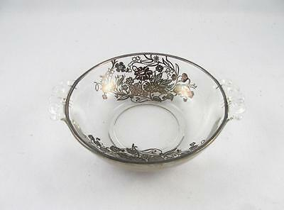 Antique/vintage Floral Silver Overlay Glass Handled Bowl