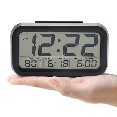 Bedside Digital Snooze Alarm Clock Large Display LCD Electronic Watch Night Glow