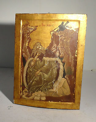 Antique Painted Gilt Hardwood Russian Greek Orthodox Religious Icon Christian
