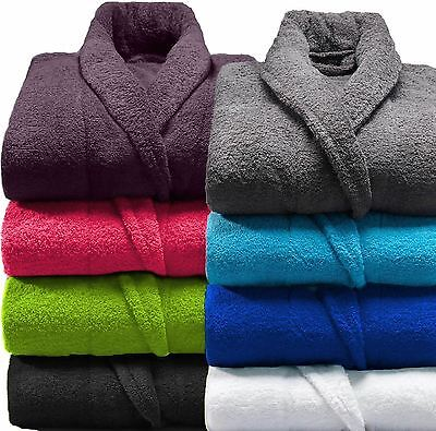 Men & Ladies 100% Cotton Terry Towelling Shawl Hooded Bath Rob Dressing Gown