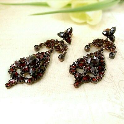 Bodacious Vintage garnet drop cascade earrings w/14ct gold studs Victorian #PK