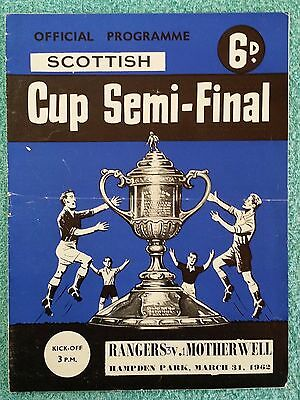 1962 - SCOTTISH CUP SEMI FINAL PROGRAMME - RANGERS v MOTHERWELL