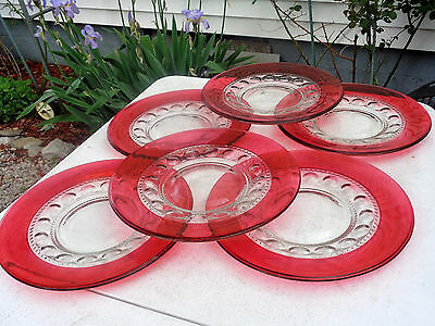 "6 TIFFIN Ruby Red Thumbprint Dinner Plates 10 3/8"" EC Free Ship VERY NICE"