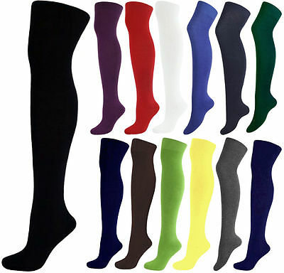 1 Pair Ladies Girls Over The Knee Thigh Socks, Black/White/Navy/Grey/Green/Brown