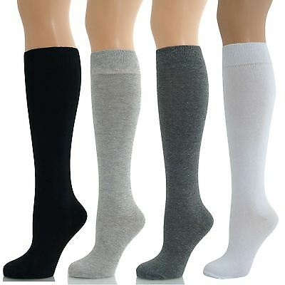Ladies Womens Girls Knee High Cotton Sock Long Plain Children Kids School Socks