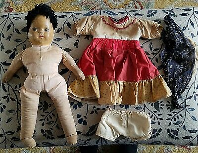 "Vtg Antique 16"" Doll Original Clothes Stuffed Body Painted Cloth Face Yarn Hair"