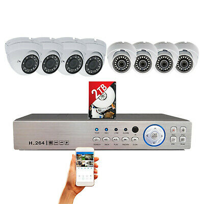 8 Channel DVR w 8x 4IN1 HD Night Vision Home CCTV Security Camera System 2TB HDD