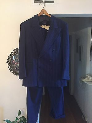 Vtg 30s 1940s double-breasted 2 piece suit blue pinstripe wool jacket pants 42