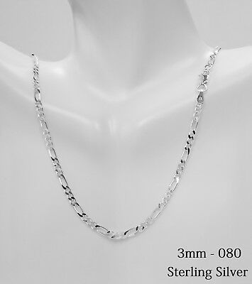 Sterling Silver Figaro Link Chain Necklace,.925 Italy Made