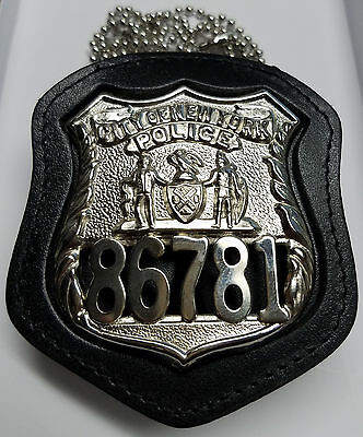 NY/NJ Police-Style Officer Badge Cut-Out Neck Hanger w/Chain (Badge Not Included