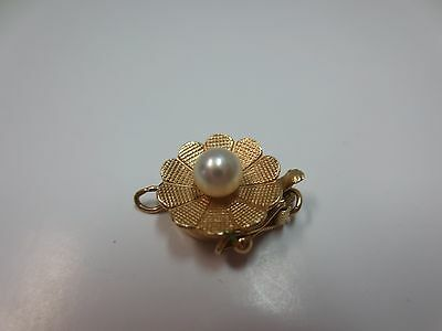 14k Solid Yellow Gold Pearl Flower Clasp for One Strand Bracelet Necklace
