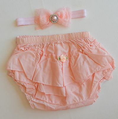Baby Bloomers Headband Set Cotton Ruffle Pants Frill Bum Nappy Cover Peach