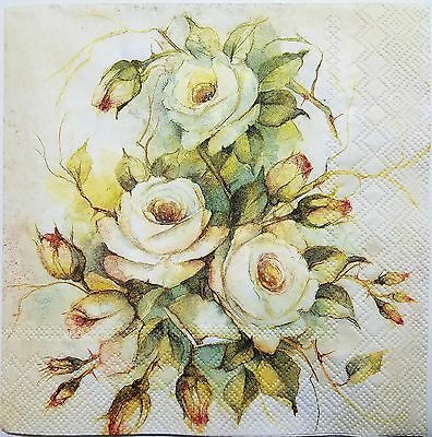 ROSES VINTAGE 2 single LUNCH SIZE  paper napkins for decoupage 3-ply