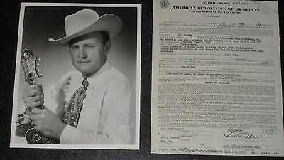 Signed 1965 BILL MONROE Bluegrass Nashville Opry Contract ++  8x10 Glossy