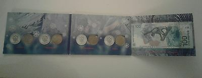SET 4 RUSSIAN COINS 25 RUBLES and 100 RUBLES 2014 OLYMPIC GAMES SOCHI