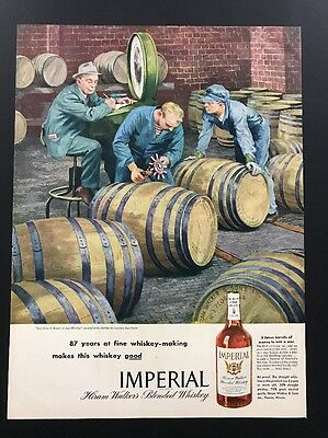 Imperial Whiskey | 1945 Vintage Print Ad | 1940s Lawrence Beall Smith Art Barrel