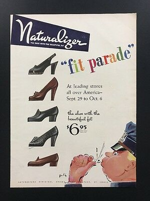 Naturalizer Shoe Heel| 1945 Vintage Print Ad | 1940s William Bolin Art Fashion