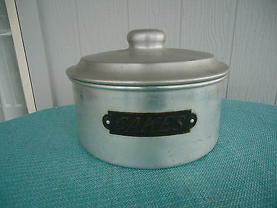 vintage art deco large aluminium & copper cake canister tin container industrial