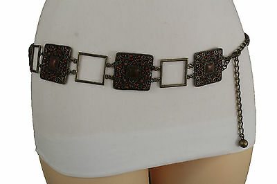 Women Antique Gold Metal Charm Vintage Fashion Belt Hip Waist Brown Beads S M L