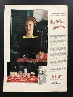 Du Barry Beauty Preparations | 1945 Vintage Ad | 1940s Illustration Cosmetics
