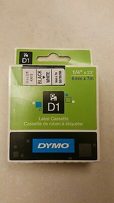 "New DYMO D1 43613 Black On White Label Cassette 1/4"" x 23'"