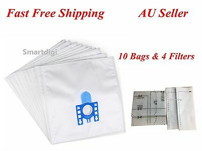 10xCompatible Replacement Microfibre Vacuum Bags For Miele GN with 4 Filters