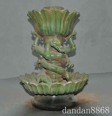 """14""""chinese old porcelain glaze double dragon statue Candlestick Candle holders A"""