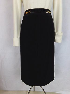 1bd38bf31a82 CELINE Black Velvet Skirt Patent Belt with gold toned hardware France EUC  Sz 4