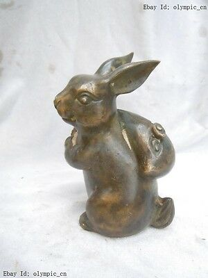 China old bronze carved Rabbit cloth-wrappers Sculpture statue