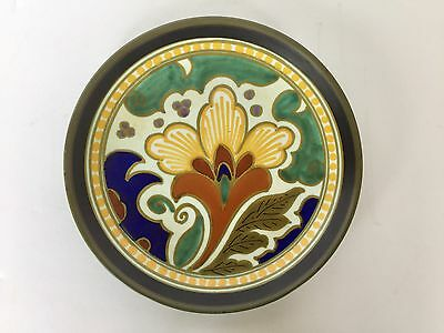 Vtg 1950s Ceramic Yellow Floral Plate Gouda 5710 Peggy Royal Made In Holland