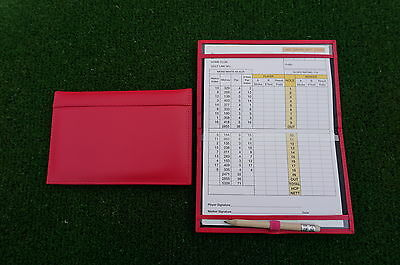 Traditional Pink leather golf scorecard holder - Original and Best