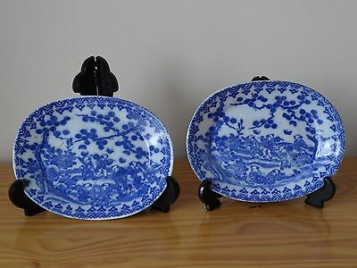 c.19th - Antique Meiji Japanese Blue and White Oval Porcelain Plates Set Pair