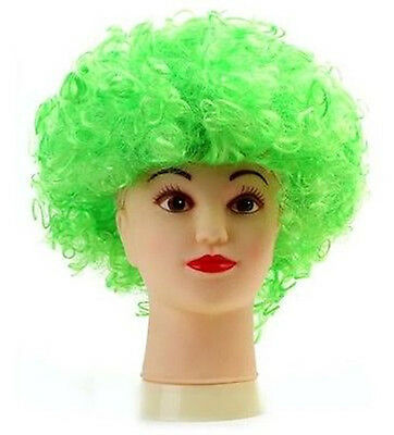 GREEN 80s CURLY AFRO WIG PARTY CLOWN FUNKY DISCO ADULTS KIDS HAIR FUZZ HEAD