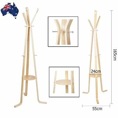 Wooden Clothes Holder Coat Rack Hat Jacket Stand Hanger w/6 Hooks Light Wood AU