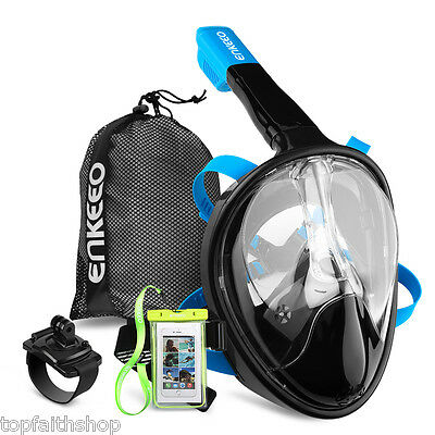 Full Face Snorkel Mask Swim Diving Anti-Fog Goggles Breather Pipe for Gopro S/M
