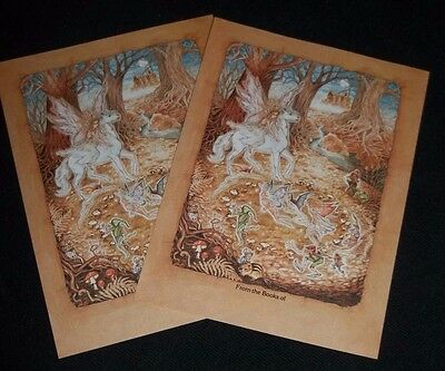 Antioch Bookplates, set of 2 Unicorn and fairies