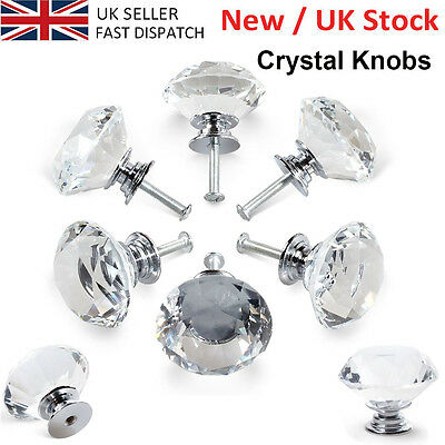 8X 40MM Clear Crystal Glass Door Knobs Diamond Drawer Cabinet Furniture Kitchen