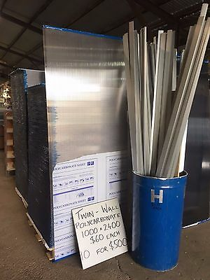 NEW TWIN WALL POLYCARBONATE SHEETS - 10mm x 1000mm x 2400mm - Clear & Tinted