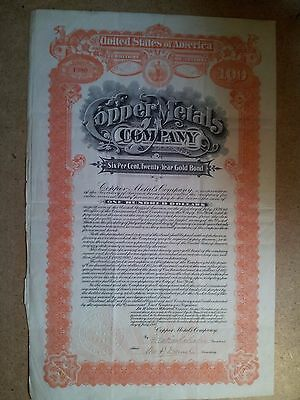 Copper Metals Company Arizona $100 USA Gold Bond Share Certificate 1910