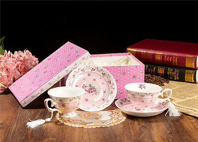Vintage Floral Rose Lavender Fine China Coffee Tea Cup and saucer set Gift box