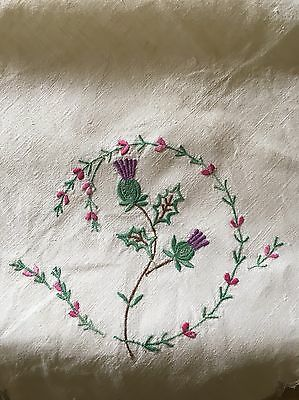 Vintage Embroidered Purple Thistles Linen Tablecloth & Napkins 84cm Square Table