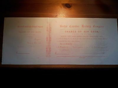 Original unused Border Counties Railway £20 Share Certificate 186... with c/foil