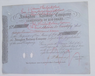 Abingdon Railway Company £10 Share Certificate 1855 Good condition.