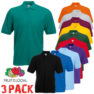 3 Fruit of the Loom MEN'S POLO SHIRTS PLAIN SPORT SHORT SLEEVE TSHIRT S-5XL PACK