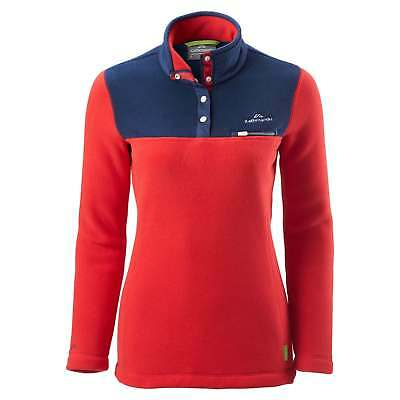 Kathmandu Pelorus Womens High Neck Snap Button Warm Outdoor Fleece Pullover Red