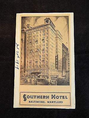 SOUTHERN HOTEL Brochure Baltimore Maryland 1919 fold out promotional guide