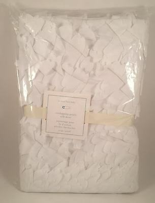 Pottery Barn Kids Overlapping Petals Taffeta White Cribskirt New with tags